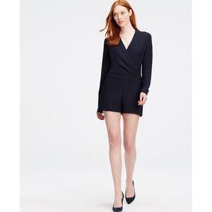 Ann Taylor Wrap Romper Size 4 Navy Dress Shorts